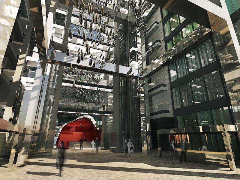 Diagonal 640 Barcelona Oficinas proyecto arquitectura vestíbulo