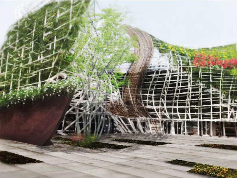 Reforma envolvente pabellón España expo Shanghái China fachada 2