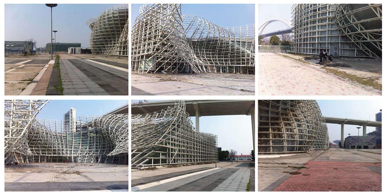 Reforma envolvente pabellón España expo Shanghái China estado actual