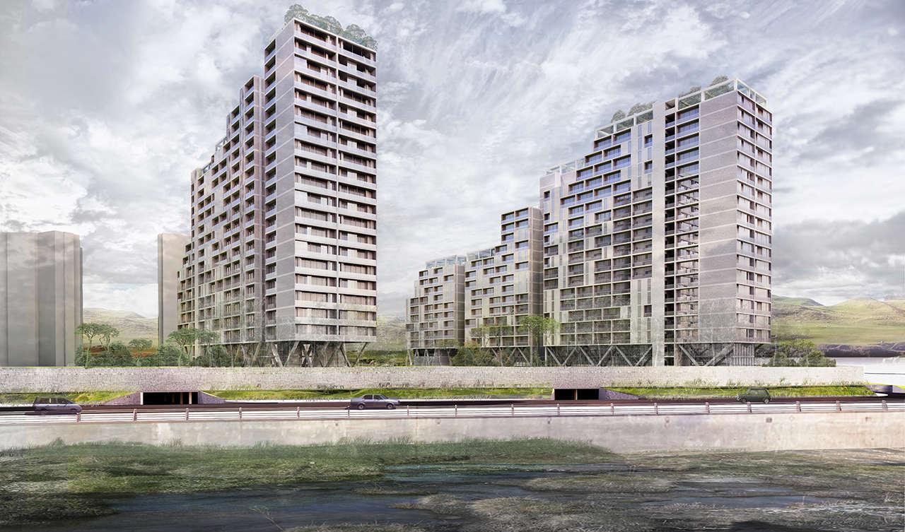 Urbanización en Chalyabinsk Rusia concurso 1er premio render 3