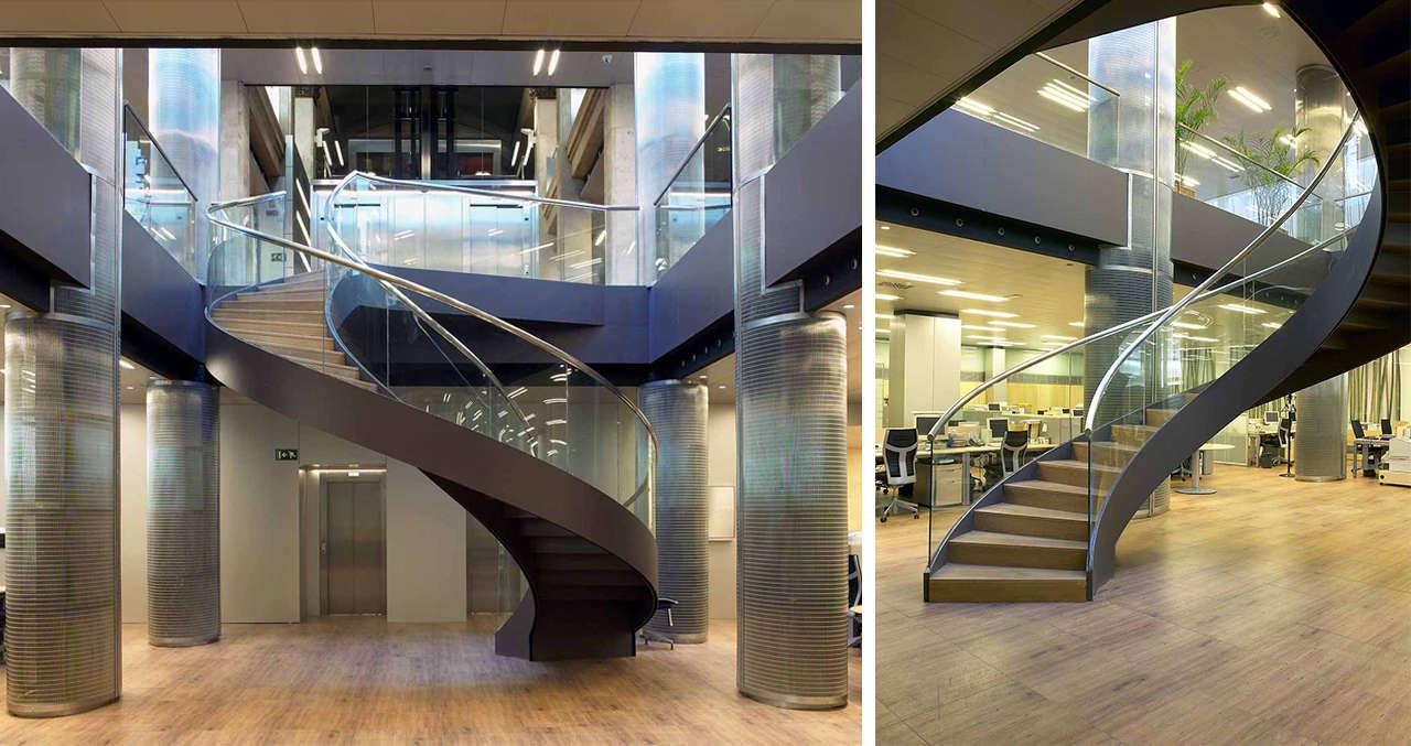 Reforma integral oficinas Mutua Madrileña Barcelona escalera 2