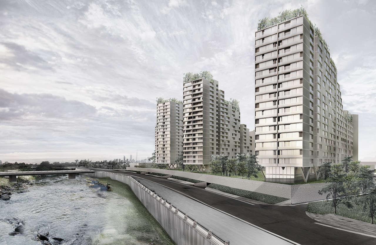 Urbanización en Chalyabinsk Rusia concurso 1er premio render 2