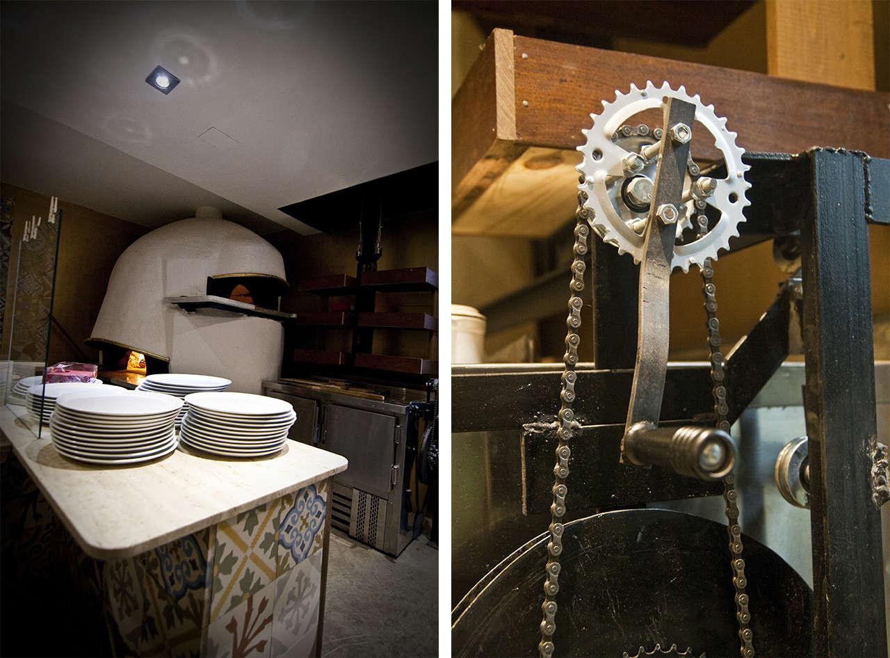 Pizzería Poblenou reforma interiorismo vintage horno