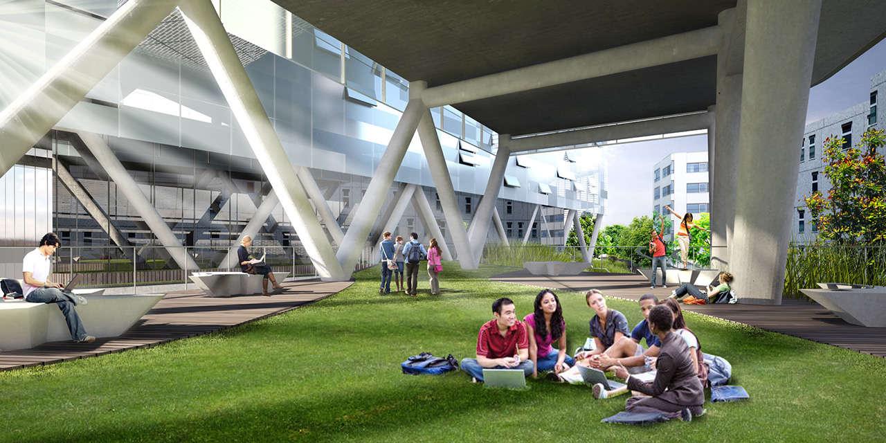 UTEC Lima Perú Universidad proyecto arquitectura jardín