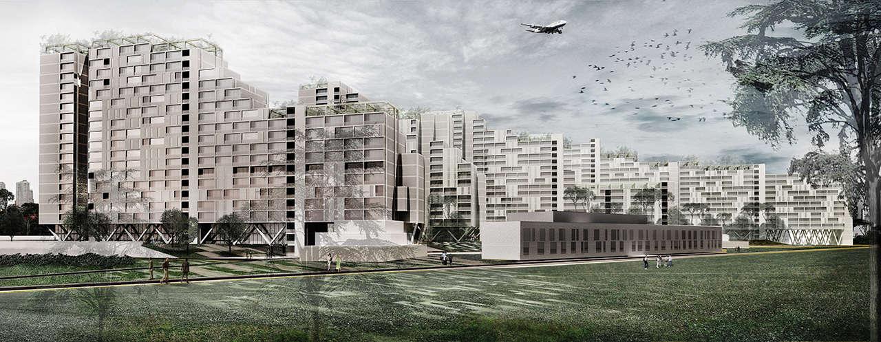 Urbanización en Chalyabinsk Rusia concurso 1er premio render 1