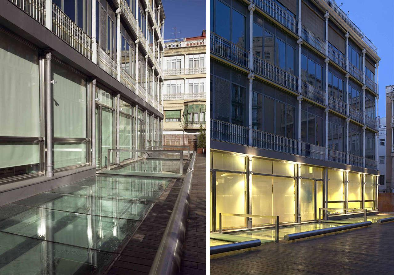 Reforma integral oficinas Mutua Madrileña Barcelona patio