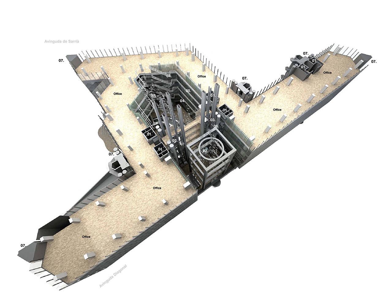 Diagonal 640 Barcelona Oficinas proyecto arquitectura esquema 1