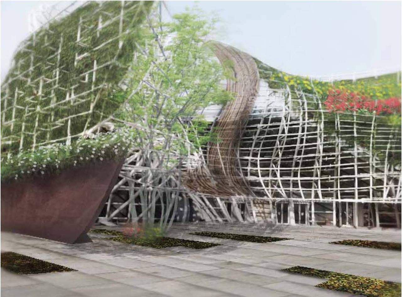 Reforma envolvente pabellón España expo Shanghái China detalle fachada